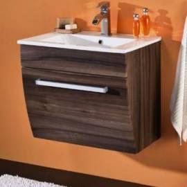 Шкаф за баня с керамична мивка 60 см, орех