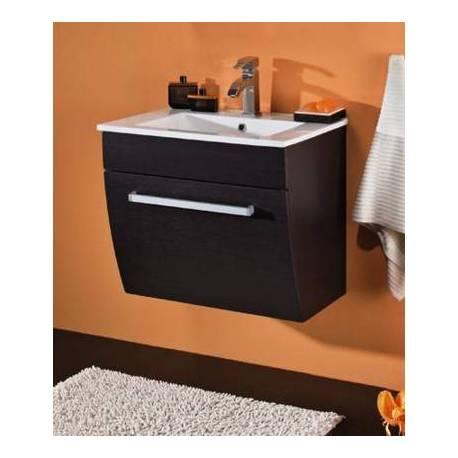 Шкаф за баня с керамична мивка 60 см, венге