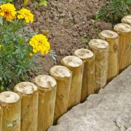 Палисади за градина - 8 x 75 см, плосък връх