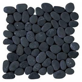 Мозайка естествен камък (пано мрежа) 30 x 30см - обли, черни