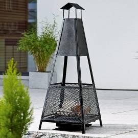 Външна камина - пирамидална - 40x40x143 см