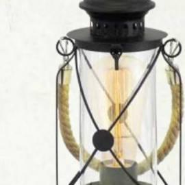 Imagén: Настолна лампа - фенер черен, винтидж