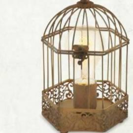Настолна лампа - фенер ръждив, винтидж