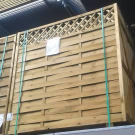 Дървена ограда с решетка 180 x 180 см