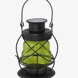 Соларна лампа - градински фенер, зелено стъкло