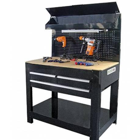 Работна маса с 3 чекмеджета и осветление - 114x60x160 см