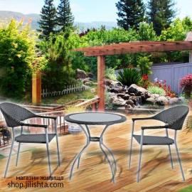 Ратанов градински комплект, маса с два стола