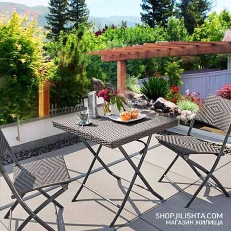 Ратанов градински комплект, сгъваема маса, два стола
