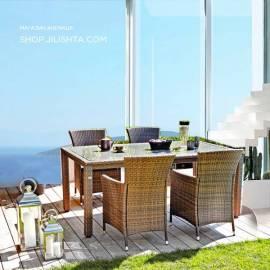 Градински стол ратан - светло кафяв