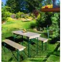 Imagén: Градинска маса и 2 пейки - дърво и метал - комплект, маса - 110x50 см