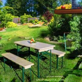 Градинска маса и 2 пейки - дърво и метал - комплект