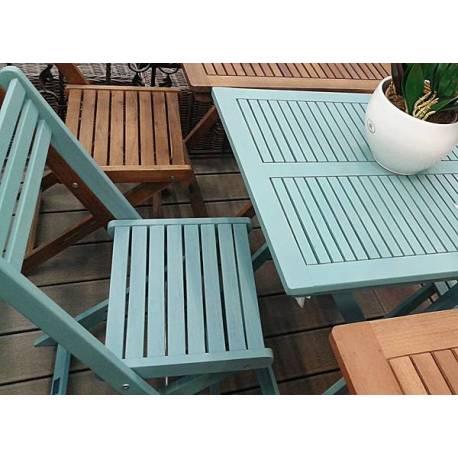 Сгъваема маса и два стола - комплект за балкон, сини