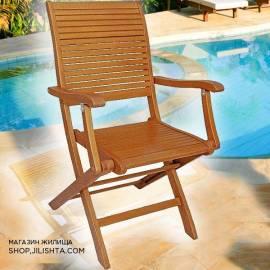 Сгъваем стол-варираща облегалка, евкалиптово дърво