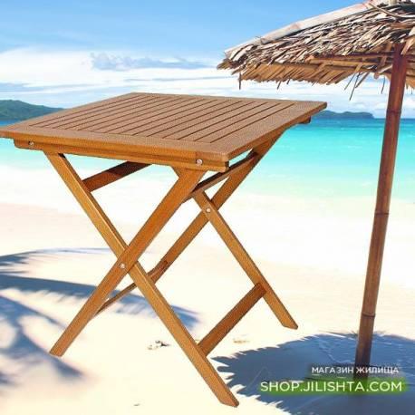 Сгъваема маса - дървена 65 x 65 см
