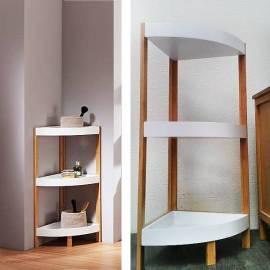 Ъглова етажерка за баня, бамбук, 80x32x32 см