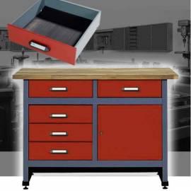 Шкаф метален - 120 x 84 x 60, 1 врата, 5 чекмеджета, тезгях