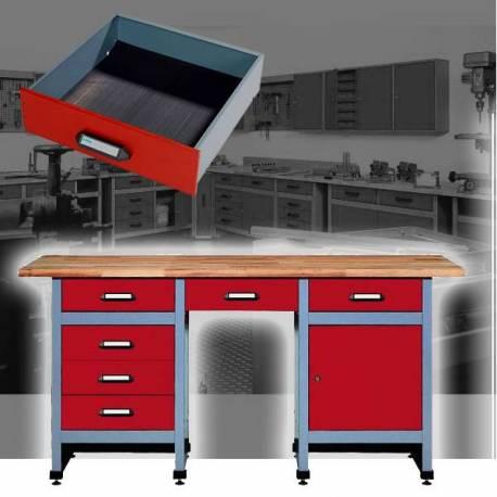 Метално бюро - работна маса, 1 врата, 6 чекмеджета, тезгях слепен бук