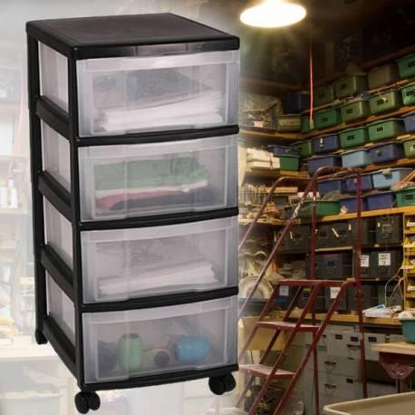 Контейнер за съхранение - 4 чекмеджета - PVC