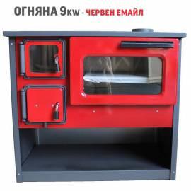 Готварска печка Огняна 9 kw - червен емайл