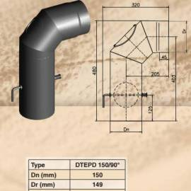 Коляно 90 с ревизионен отвор и клапа ф150 - 600x400 mm