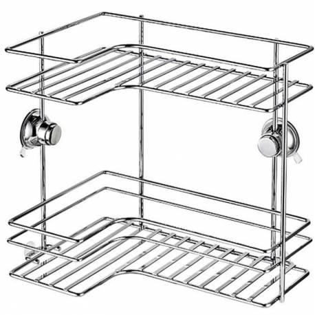 Етажерка за баня - ъглова, 33x22x30.5 см, с вакуумно закрепване