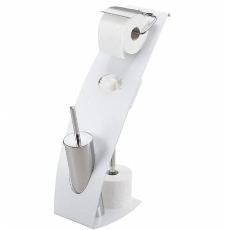 Поставка за WC хартия с  четка и диспенсър за мокра хартия