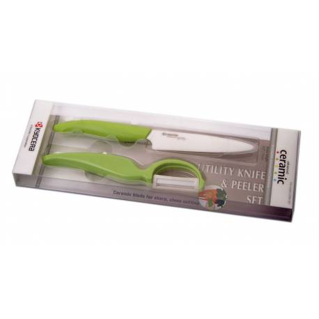 Комплект нож с белачка в кутия - зелен