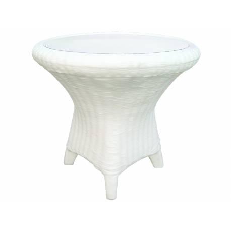 Масичка - бамбук, бяла със стъкло, Ø75 x височина 70 см, с визия на ратан