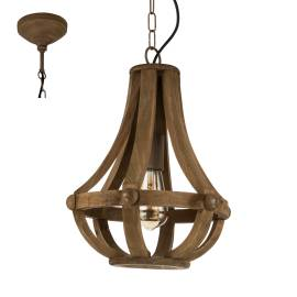Дървен фенер - висящ, Ø 310 мм, h 110 см, Е27, винтидж стил