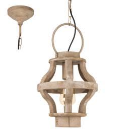 Дървен фенер -  висящ, Ø 235 мм, h 110 см, Е27, винтидж стил