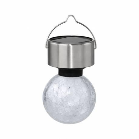 Соларна лампа - висяща, Ø 6 см x 19 см,  начупено стъкло