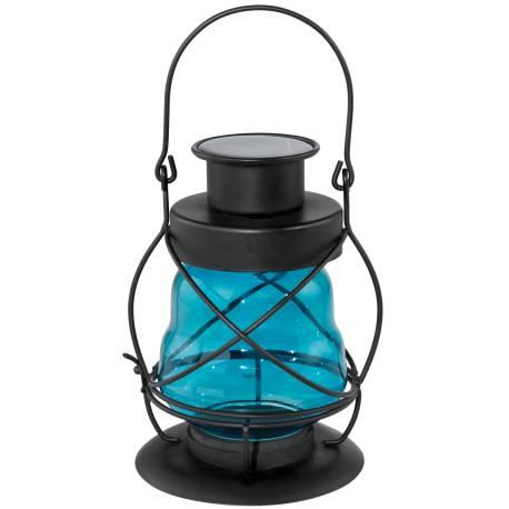 Соларна лампа - градински фенер, синьо стъкло