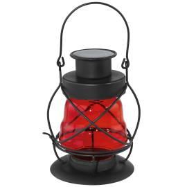 Соларна лампа - градински фенер, червено стъкло