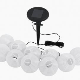 Соларни фенери - светлинна верига 10 бр., 10 LED, д 7 см, бели