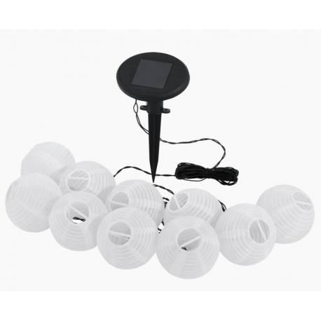 Соларни фенери 10 бр., 10 LED,  д 7 см, бели