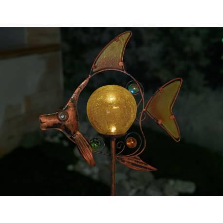 Соларна лампа - Риба - метал и цветно стъкло, h 85 см