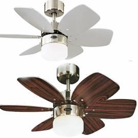 Таванен вентилатор 76 см, 6 перки, осветително тяло Опал, бял