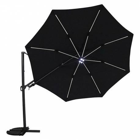 Градински чадър - здрава конструкция, 3.5 м, с вградено LED осветление, черен