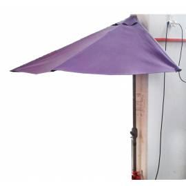 Ъглов чадър за балкон със стойка и манивела - полукръг, лилав