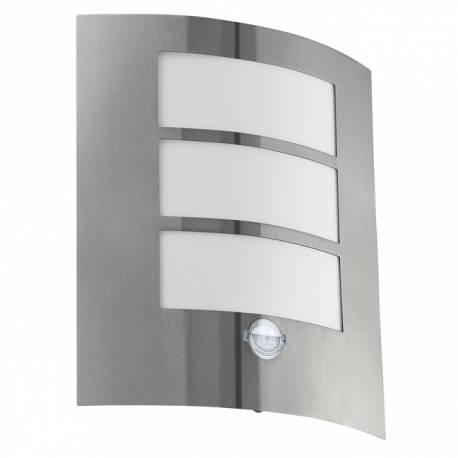 Външен фасаден аплик 1xE27 неръждаема стомана инокс/сензор  CITY