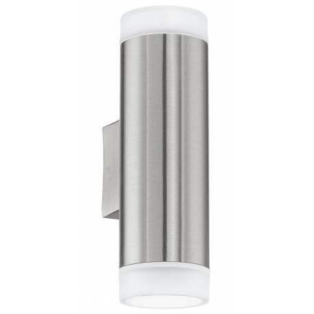 Външен фасаден аплик-LED 2хGU10 3W 400lm неръждаема стомана инокс/сатен. RIGA-LED