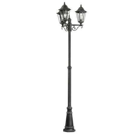 Външна лампа-стояща 3хE27 H-2200 черно/сребро -патина  NAVEDO