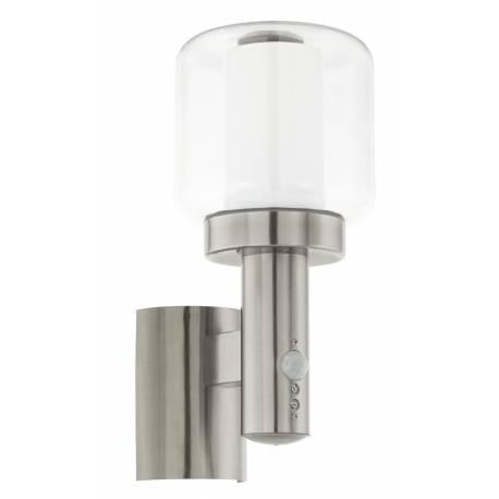 Външна лампа АП 1хЕ27 инокс/прозр.-бял цил. сензор POLIENTO