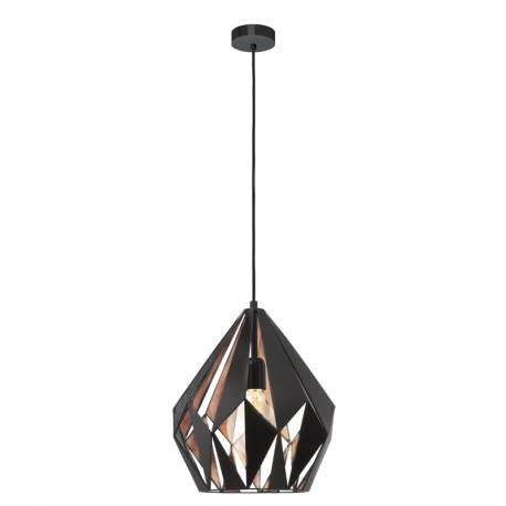 Пендел-висяща лампа 1хE27,реш.пирам.черен, Ø310мм Н380мм