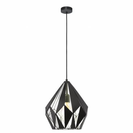 Пендел-висяща лампа 1хE27,реш.пирам.черен, сиво отв. чер.текст кабел, Ø310мм Н380мм