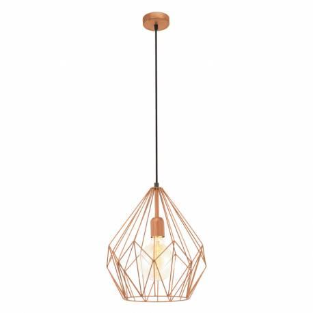 Пендел-висяща лампа 1хE27,реш.кафез. мед, чер.текст. кабел,Ø310мм Н380мм