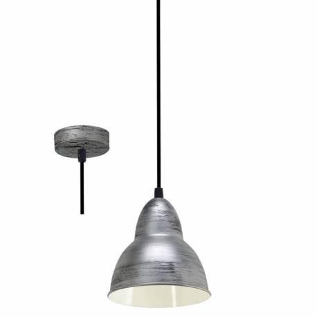 Пендел-висящ E27, ант.сребро,черен кабел, Ø115 Н185 TRURO