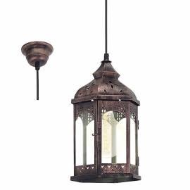 Imagén: Пендел - висяща лампа E27, мед, черно кабел, Ø185 Н310 REDFORD 1