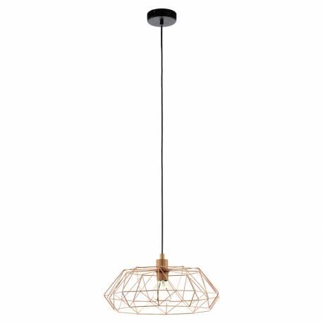 Пендел-висяща лампа 1хE27 реш структ. Ø455 мед/чер.кабел CARLTON 2
