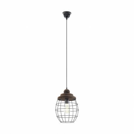 Пендел-висяща лампа 1хE27 черно/кафяво-патина BAMPTON